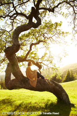 Girl relaxing on a tree trunk in field